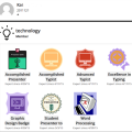 Student's Badge Page showing 7 badges earned