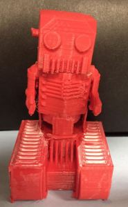 Student designed 3D printed robot with moving arms and treads
